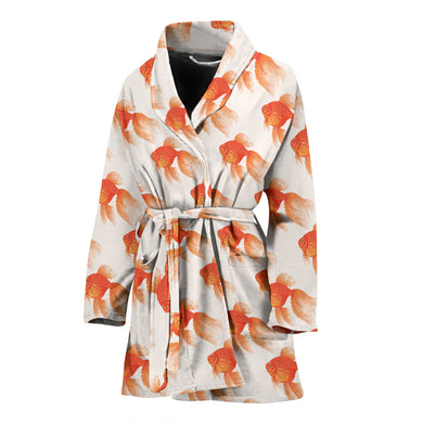Goldfish Pattern Print Design 05 Women Bathrobe-1