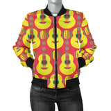 Classic Guitar Theme Pattern Women Bomber Jacket