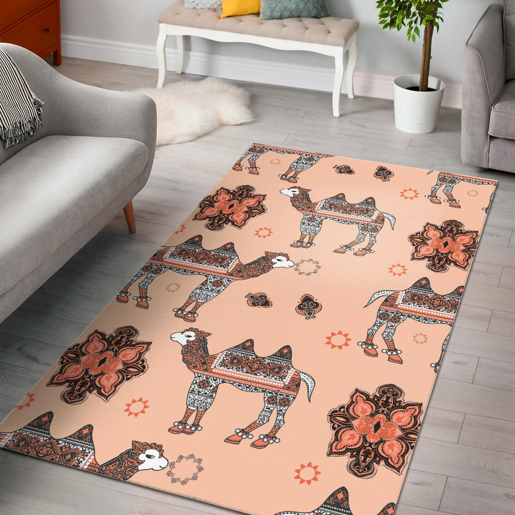 Camel Tribal Pattern Area Rug