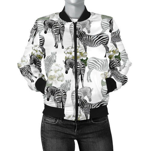 Zebra Pattern Women Bomber Jacket