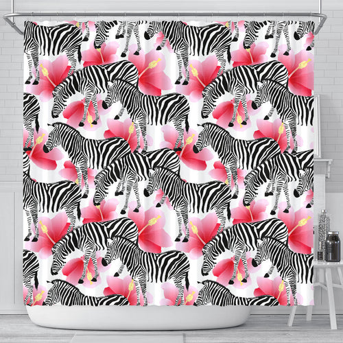 Zebra Red Hibiscus Pattern Shower Curtain Fulfilled In US