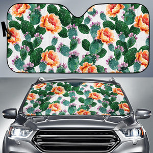 Cactus and Flower Pattern Car Sun Shade