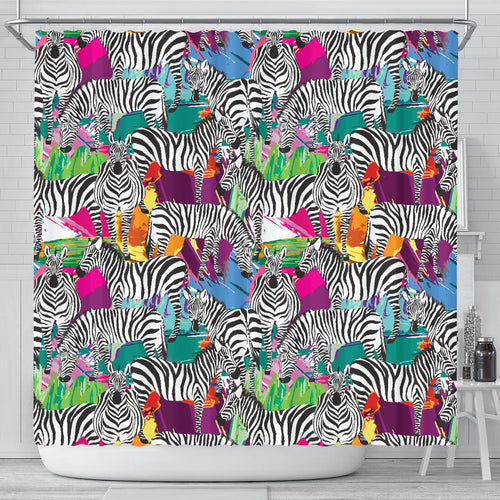 Zebra Colorful Pattern Shower Curtain