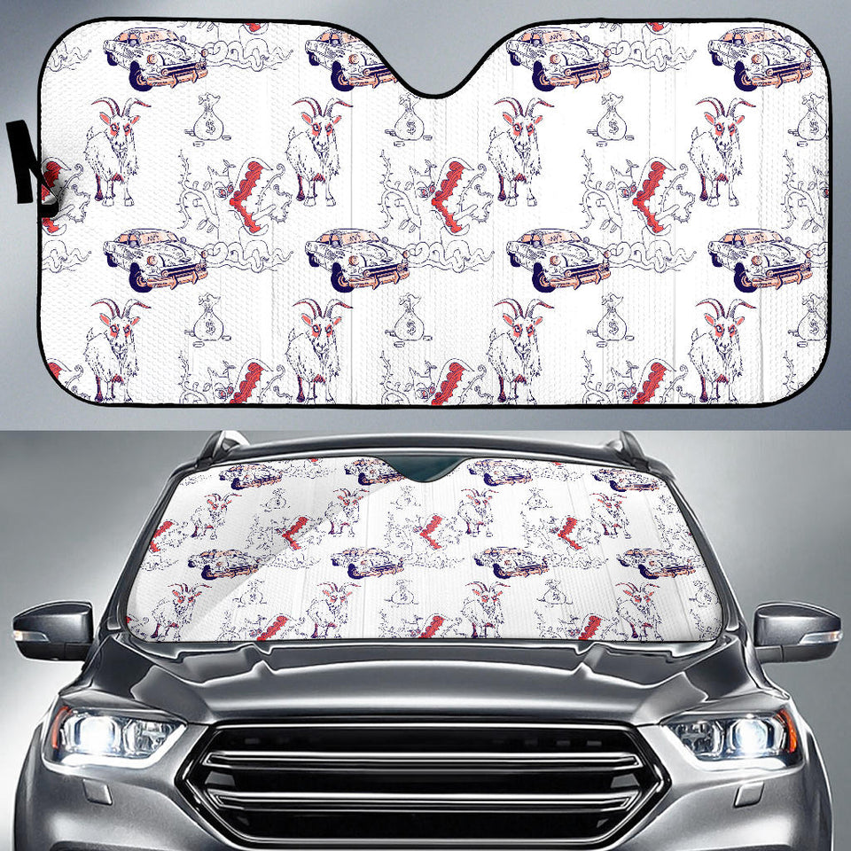 Goat Car Pattern Car Sun Shade