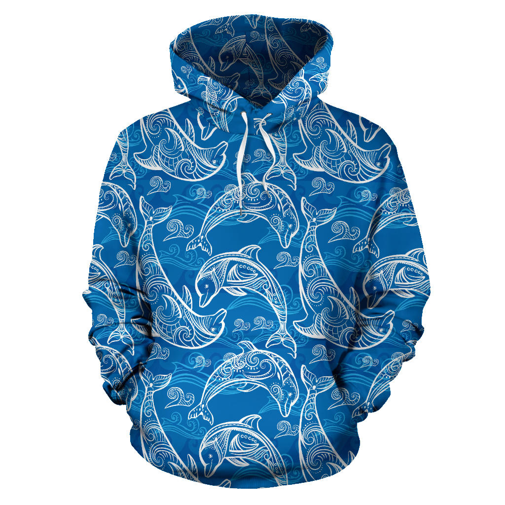 Dolphin Tribal Blue Pattern  Pullover Hoodie