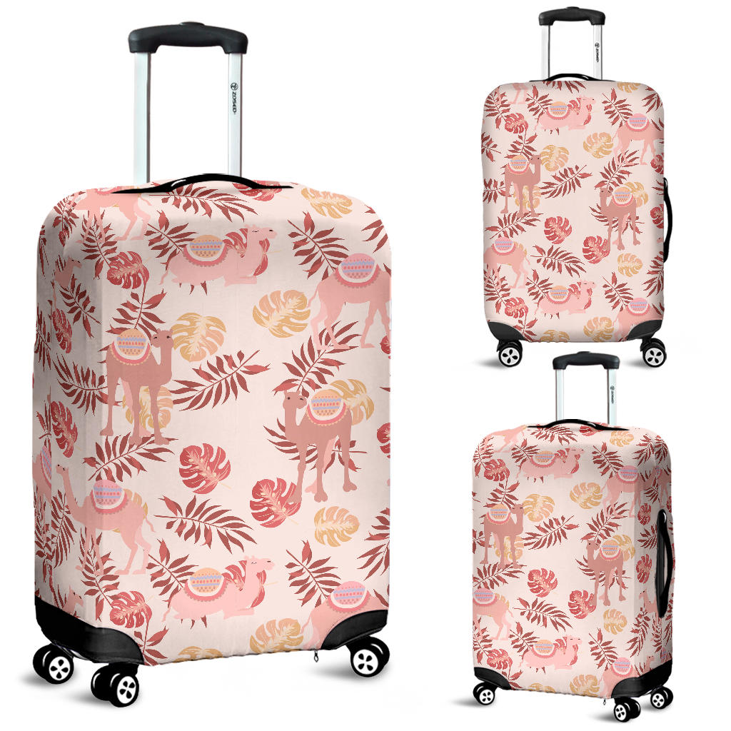 Pink Camel Leaves Pattern Luggage Covers