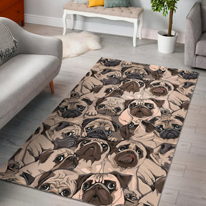 Pug Pattern Background Area Rug