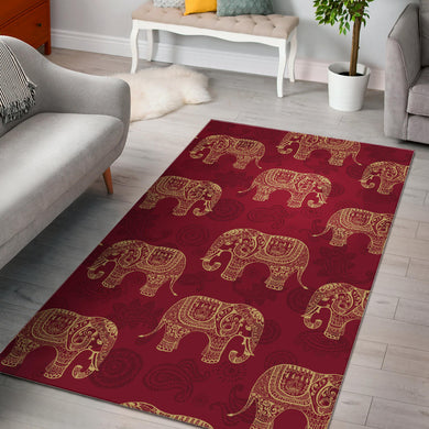 Elephant Tribal Pattern Area Rug