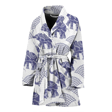 Elephant Pattern Background Women Bathrobe