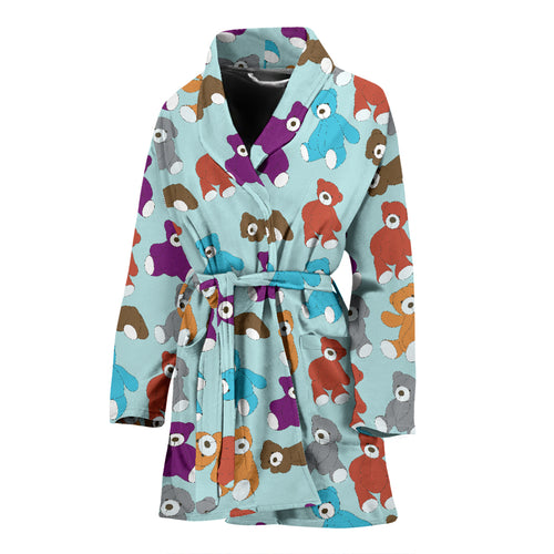 Teddy Bear Pattern Print Design 03 Women Bathrobe