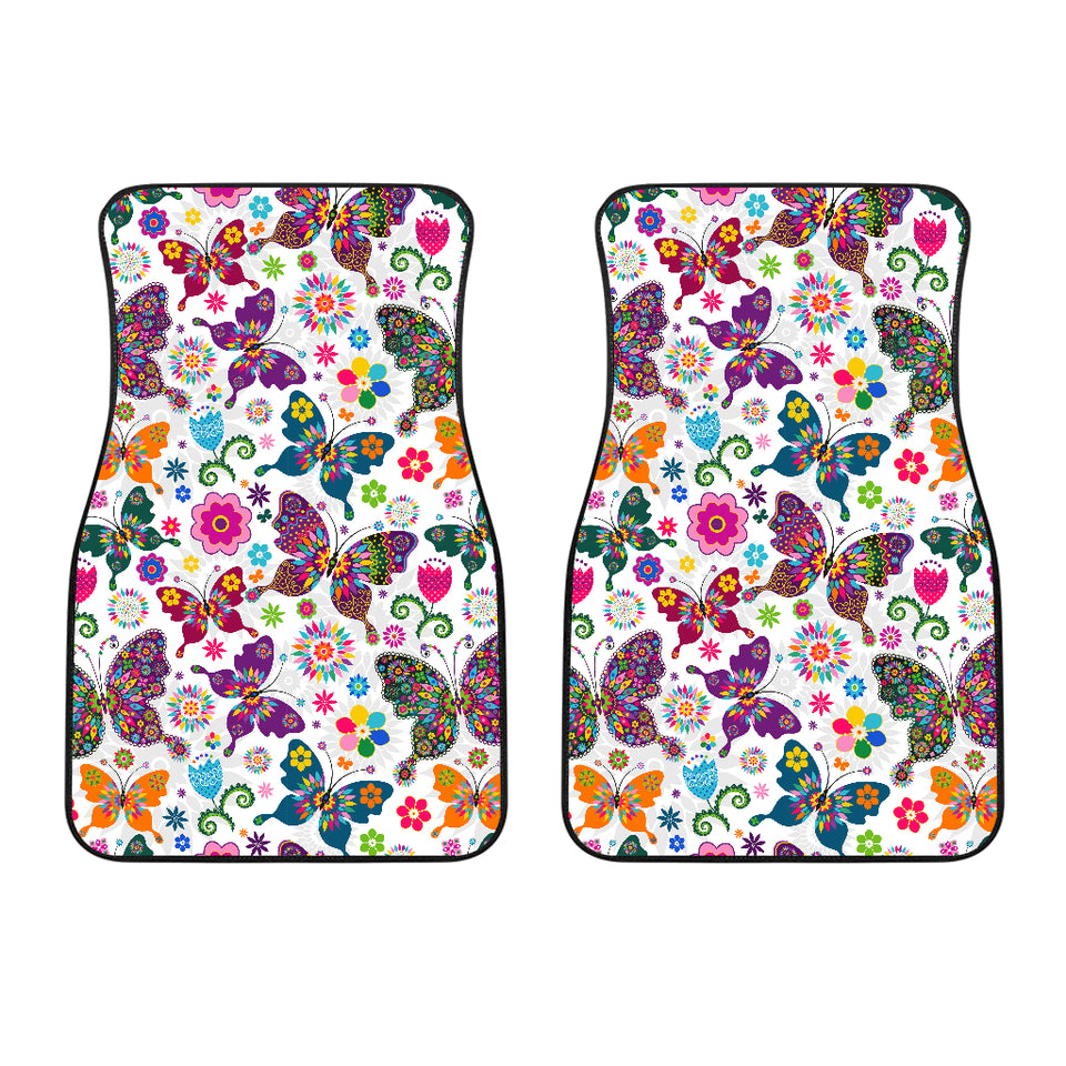 Colorful Butterfly Flower Pattern Front Car Mats