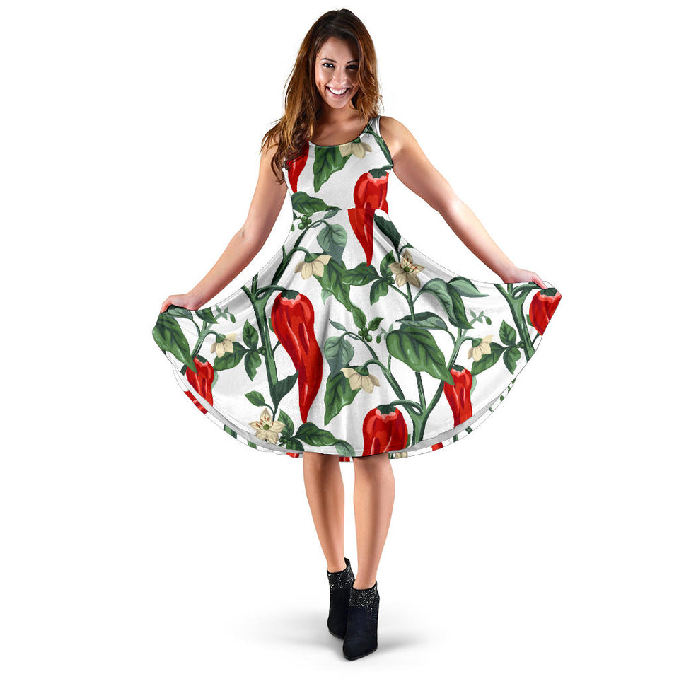 Chili Leaves Flower Pattern Sleeveless Midi Dress