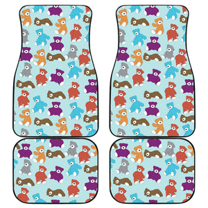 Teddy Bear Pattern Print Design 03 Front and Back Car Mats
