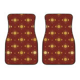 Sun Pattern Red Background Front Car Mats