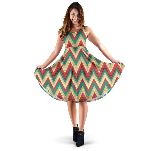 Zigzag Chevron Pattern Sleeveless Midi Dress