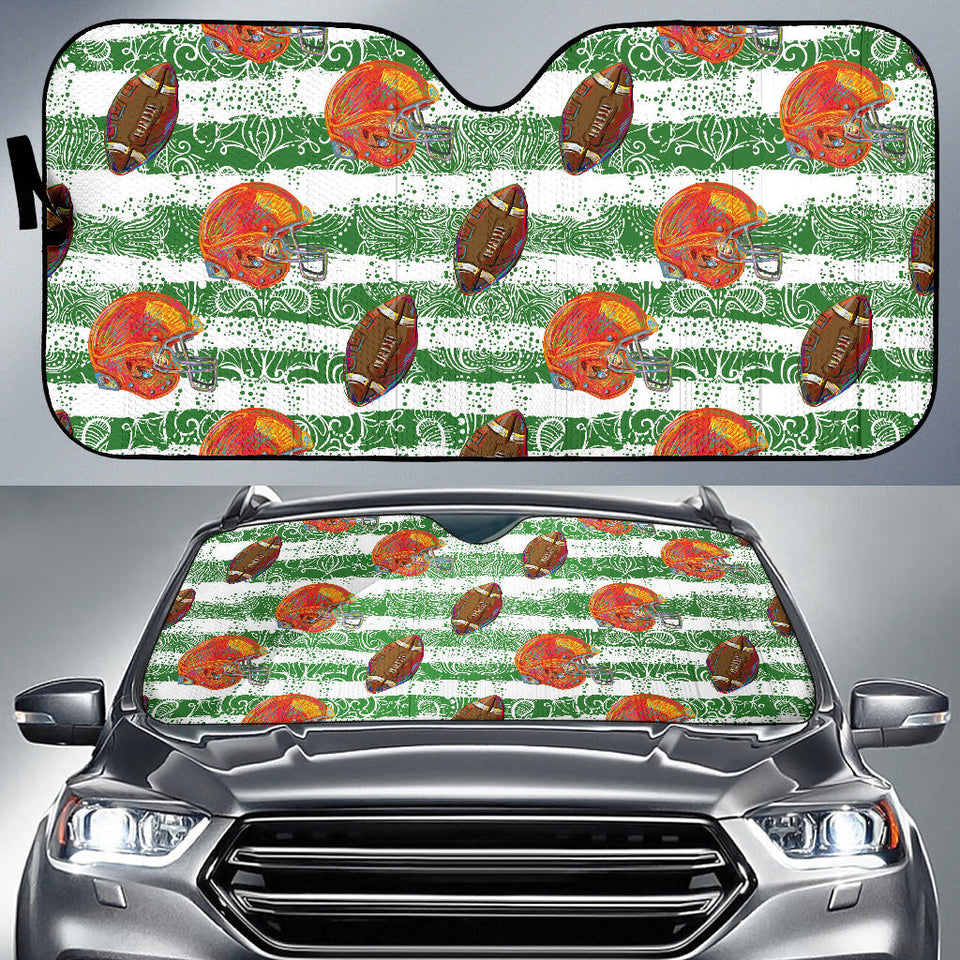American Football Ball Helmet Pattern Car Sun Shade