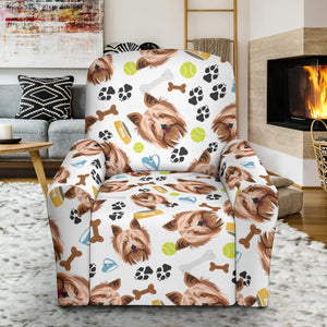 Yorkshire Terrier Pattern Print Design 05 Recliner Chair Slipcover