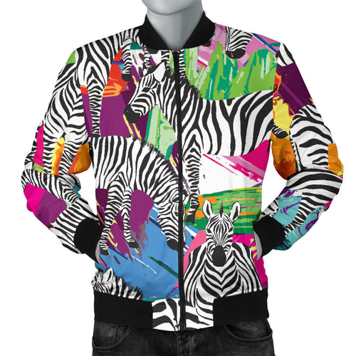 Zebra Colorful Pattern Men Bomber Jacket