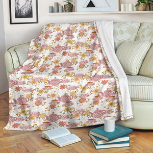 Tea pots Pattern Print Design 01 Premium Blanket