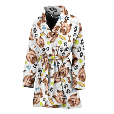 Yorkshire Terrier Pattern Print Design 05 Women Bathrobe