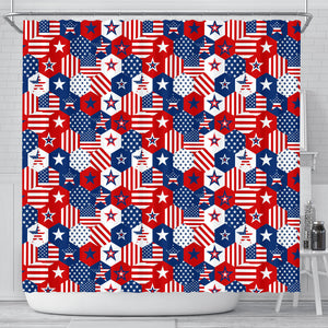 USA Star Hexagon Pattern Shower Curtain Fulfilled In US