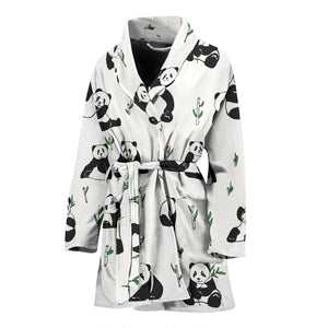 Panda Pattern Background Women Bathrobe