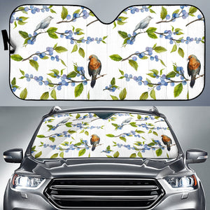 Blueberry Bird Pattern Car Sun Shade