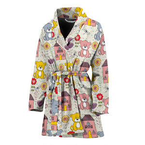 Teddy Bear Pattern Print Design 04 Women Bathrobe