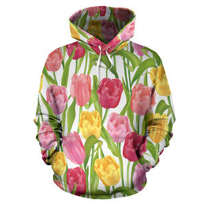 Pink Red Yellow Tulip Pattern Pullover Hoodie