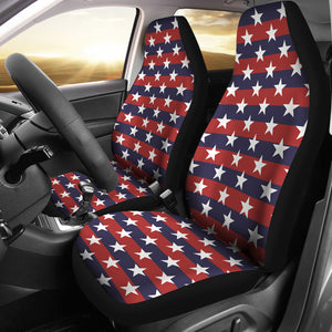 USA Star Pattern Background Universal Fit Car Seat Covers