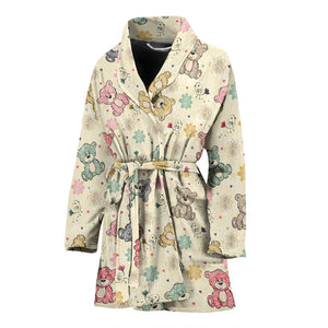 Teddy Bear Pattern Print Design 05 Women Bathrobe