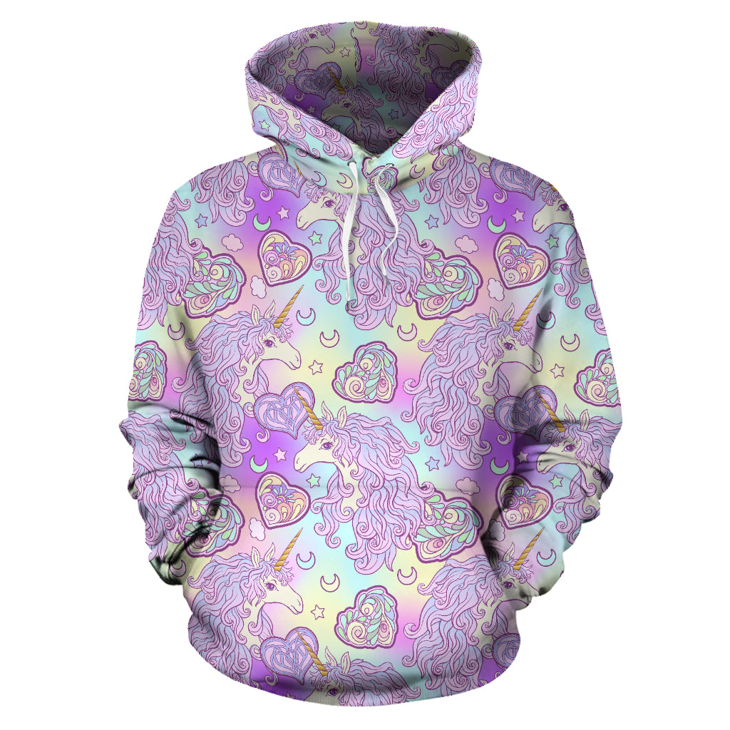 Unicorn Heart Pattern Men Women Pullover Hoodie