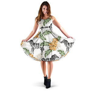 Zebra Hibiscus Pattern Sleeveless Midi Dress