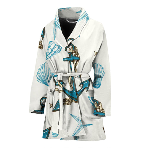 Anchor Shell Starfish Pattern Women Bathrobe