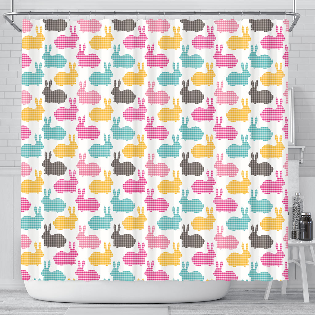 Colorful Rabbit Pattern Shower Curtain Fulfilled In US