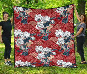 Red Theme Japanese Pattern Premium Quilt
