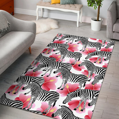 Zebra Red Hibiscus Pattern Area Rug