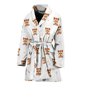 Yorkshire Terrier Pattern Print Design 03 Women Bathrobe
