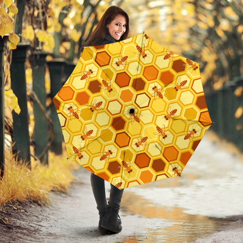 Bee and Honeycomb Pattern Umbrella