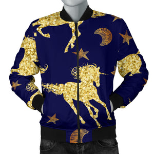 Unicorn Gold Pattern Men Bomber Jacket