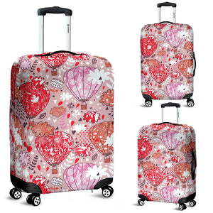 Red Pink Hot Air Balloon Pattern Luggage Covers