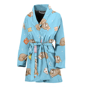 Sleep Sloth Pattern Women Bathrobe