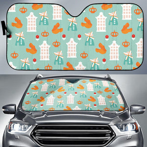 Windmill Pattern Theme Car Sun Shade