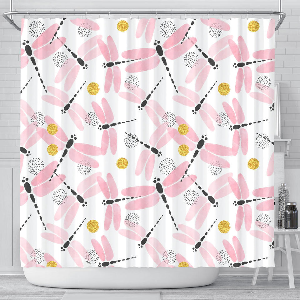 Pink Dragonfly Pattern Shower Curtain Fulfilled In US