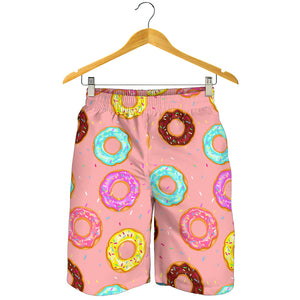 Donut Pattern Pink Background Men Shorts