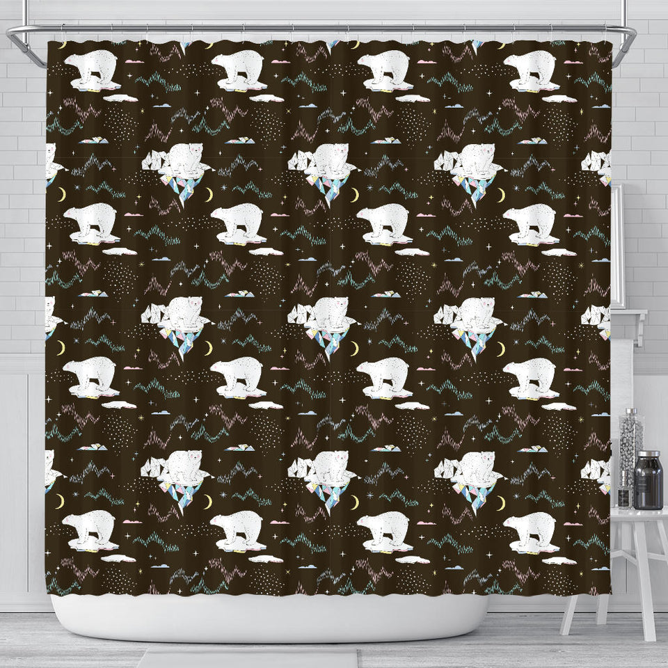 Polar Bear Pattern Background Shower Curtain Fulfilled In US
