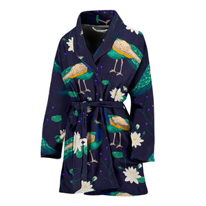 Peacock Flower Pattern Women Bathrobe