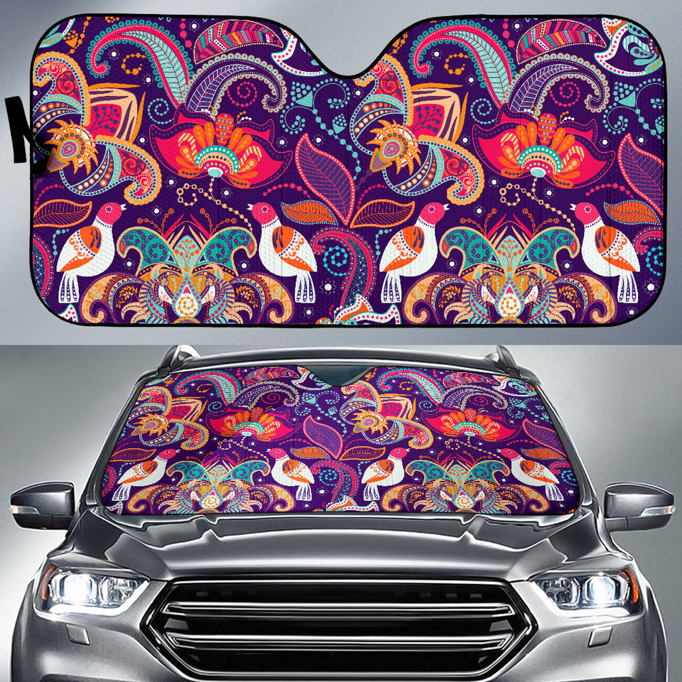 Indian Pattern Background Car Sun Shade
