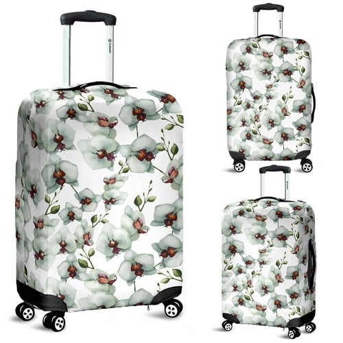 White Orchid Pattern Luggage Covers