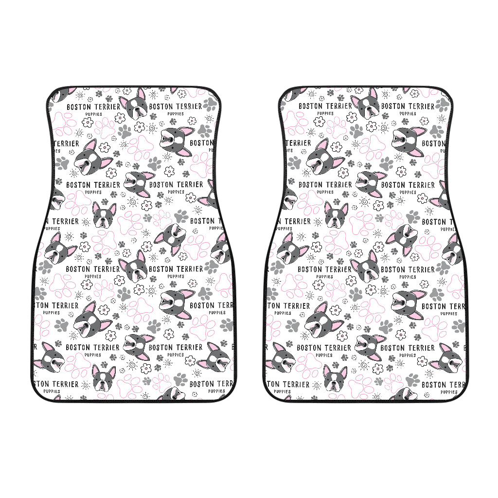 Boston Terrier Pattern Front Car Mats